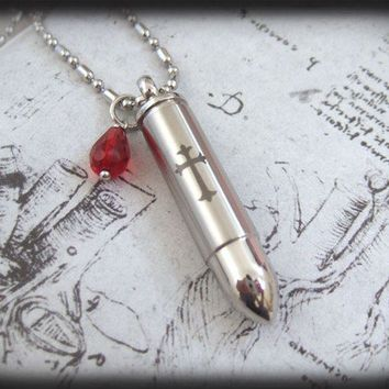 Shot A Silver Bullet Through The Heart,  stainless steel perfume bottle container, message locket  necklace