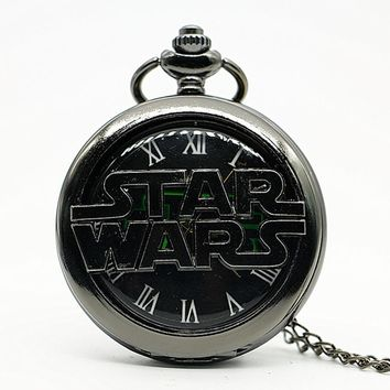 Star Wars Force Episode 1 2 3 4 5 Sci-fi Science Fiction Movies  Quartz Pocket Watch Analog Pendant Necklace Mens Womens Watches Gift AT_72_6