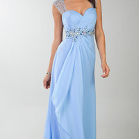 Floor Length Cap Sleeve Dress