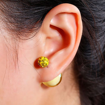 Yellow Crystal pave Double Sided Earrings, glass bubble Stud earring,bubble earring, ball double earring,Ear Jacket,candy ball stud earring