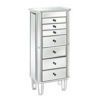 Silver Mirrored Jewelry Armoire