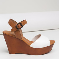 Peep This Faux Leather Wedges