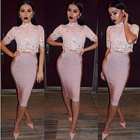 2018 new bodycon elegant bodycon shiny lace short sleeve high neck sexy  pink nude knee-length 2 two piece set bandage dress