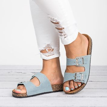 Double Buckle Sandals - Light Denim
