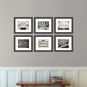 Vintage Sign Print Collection, Kitchen Decor, Shabby Chic Home Decor, Set of 6 Prints, Black And White, Cream, Rustic Decor.