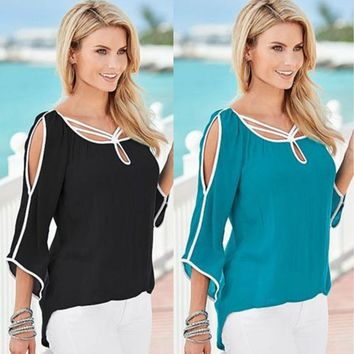 Womens Cold Shoulder Cut-Out Shirts Hi-Lo Tunic Tops Casual Loose Blouse T-Shirt