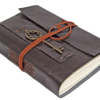 Dark Brown Vegan Faux Leather Journal with Key Charm Bookmark