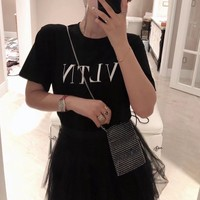 """Valentino"" Women All-match Simple Casual Letter Print Short Sleeve Round Neck T-shirt Top Tee"