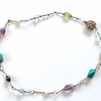 Silver Anklet - Sterling Silver Anklet - Multi Stone Anklet- Anklet Turquoise amethyst Pearl peridot Aquamarine- Twisted Wire Anklet- Gift