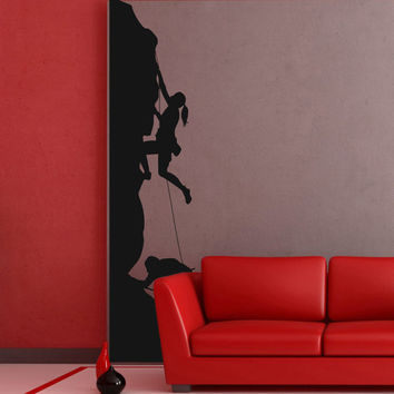 I196 Wall Decal Vinyl Sticker Art Decor Design rocks mountain climber extreme adrenaline sport parkour tall people Living Room Bedroom