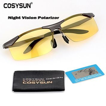 2014 Night Vision Goggles Driving Polarized Sunglasses for men's car Driving Glasses Anti-glare Alloy Frame glasses