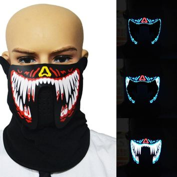 15 Styles Halloween LED Masks Clothing Big Terror Masks Cold Light Helmet Fire Festival Party Riding Mask At Night