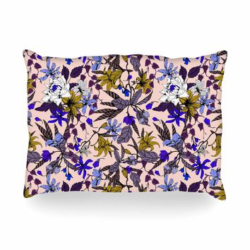"mmartabc ""Flowering Floral Botanic I"" Pink Purple Floral Nature Illustration Vector Oblong Pillow"