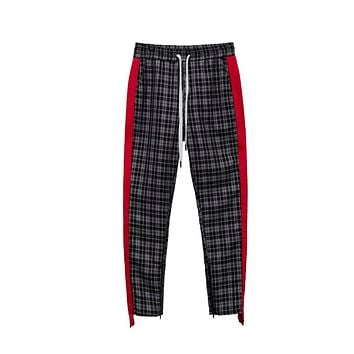 "Konus ""Plaid"" Track Pants w/ Ankle Zippers"