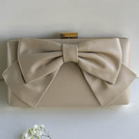 Bow Down Beige Clutch With Ribbon Accent