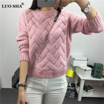 LUO SHA Women Sweaters and Pullovers O-neck Knitted Sweater Autumn Winter Plus Size Female Costume Pull Femme Manche Longue