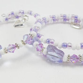 Lilac Butterfly Bracelet - Wrap Memory Wire Bracelet Kids Jewelry - Gifts for Girls or Teens