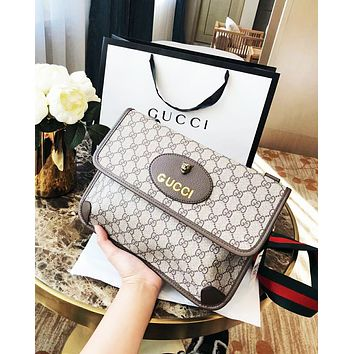 GUCCI new tide brand tiger head double G printing canvas chest bag shoulder bag diagonal package