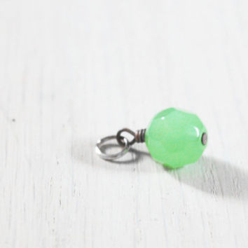 Mint Jadeite Bead Charm - vintage round faceted facet beaded charm - design your necklace - build your own customized jewelry