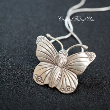 925 Sterling Silver Butterfly Necklace  Butterfly Pendant  Handmade Large Butterfly Jewelry.  Bridal Necklace