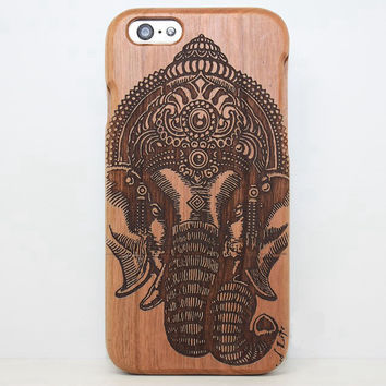 India Elephant Wood Case Solid wood Retro Wooden New Cover Carving flower Patterns Wood Slice Plastic Edges Back Cover for Iphone 6 case iPhone 6 Plus