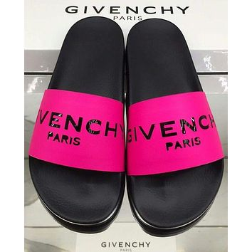 Givenchy Trending Classic Slippers Women Men Letters Sandals Rose red