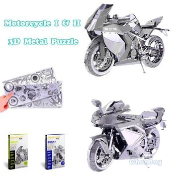PieceCool 3D Metal Puzzle Jigsaws of  Motorcycles Metal Earth Mini 3D Model Kits from Laser Cut Metal Sheets for Adult Toys Gift