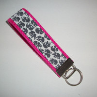 Key FOB / KeyChain / Wristlet  - Gray Grey elephants on hot pink webbing