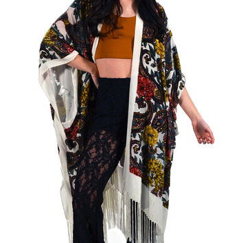 White Floral Paisley Velvet Burnout Gypsy Beaded Fringe Kimono Duster