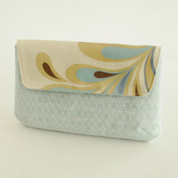 Gold and Mint Linen Clutch - Holiday Outfit Accessories-Festive Clutch-Prom Clutch, Pouch, Case, Purse
