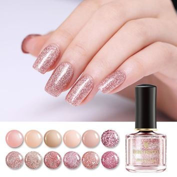 BORN PRETTY 6ml Glitter Nail Polish Purple & Rose Gold Series Nail Art Polish Holo Shimmer Glossy Nail Art Varnish Polish