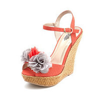 Chiffon Blossom Woven Wedge Sandal: Charlotte Russe