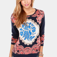 Never Been Better Navy Blue Print Sweater
