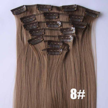 8# Bath&Beauty clip in synthetic hair extensions 7pcs/set,90grams hairpieces clip in hair 7pcs Straight hair,curly hairpiece,Hair Care,fashion COSPLAY ombre 1PCS