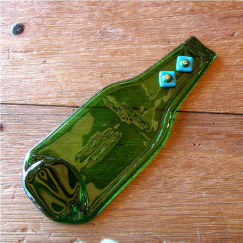 Eco Beer Bottle - Butter Dish - Melted Bottle - Up-Cycled Green Bottle Appetizer Plate