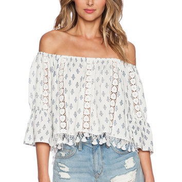 Tularosa Alexa Top in White & Navy
