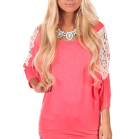 Coral Dolman Top with Crochet Shoulder Detail