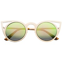 Women's Laser Cut Round Metal Mirror Lens Sunglasses A102