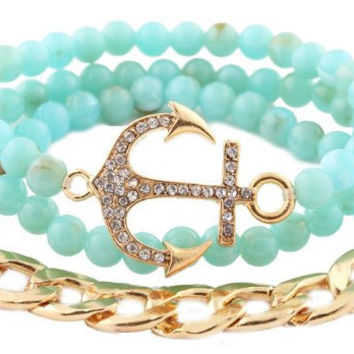 Anchor Bundle Bracelet - Includes 3 bracelets- Available in Mint, Ivory, Pink and Black