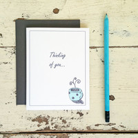 Thinking of You  Card - Coffee Mug Card - Friendship - Hello - Miss You - 201409231228