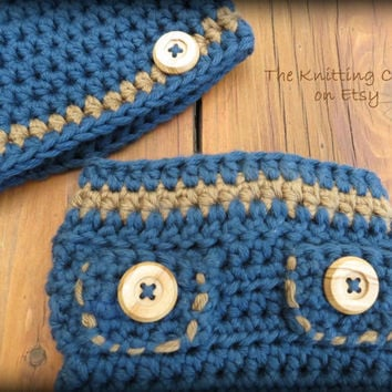 Crochet Diaper Cover Pattern and Hat Pattern - Newborn Photo Prop - Soaker Pattern - Blue Jean