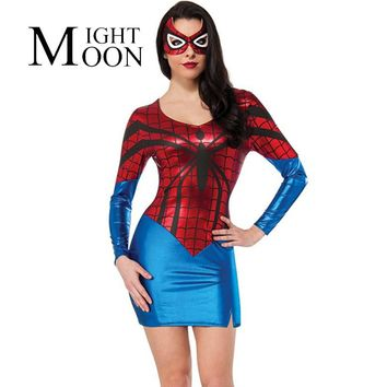 Adult Women Spider Man Cosplay Dress Superhero Roleplay Halloween Play Disfraces Dress and Goggles Womens Costume