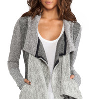 dolan Long Sleeve Hooded Draped Cardigan in Gray