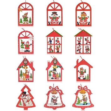 12PCS Hanging Pendants Christmas Elk Decoration