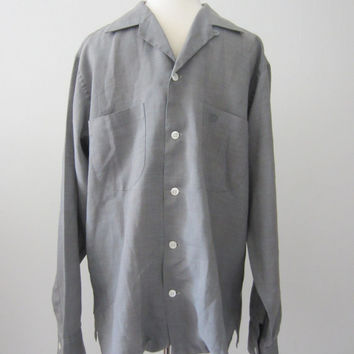 50s Grey Loop Button Shirt by Excello, Men's M // Vintage Straight Bottom Wool Blend Shirt