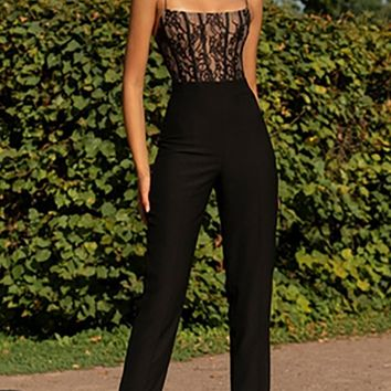 Headliner Black Sleeveless Spaghetti Strap Lace Bandage Skinny Bodycon Jumpsuit