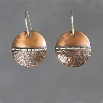 Copper texture disc silver wire drop earrings Bridesmaids gifts Free US Shipping handmade Anni Designs