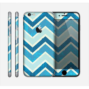 The Vibrant Blue Vintage Chevron V3 Skin for the Apple iPhone 6