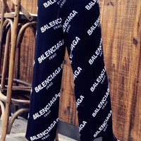 """Balenciaga"" Women Casual Fashion Letter Print Wide Leg Pants Trousers Leisure Pants"