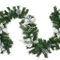 6' Pre-Decorated Silver Poinsettia  Pine Cone and Ball Artificial Christmas Garland - Unlit